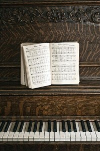 piano and hymnal