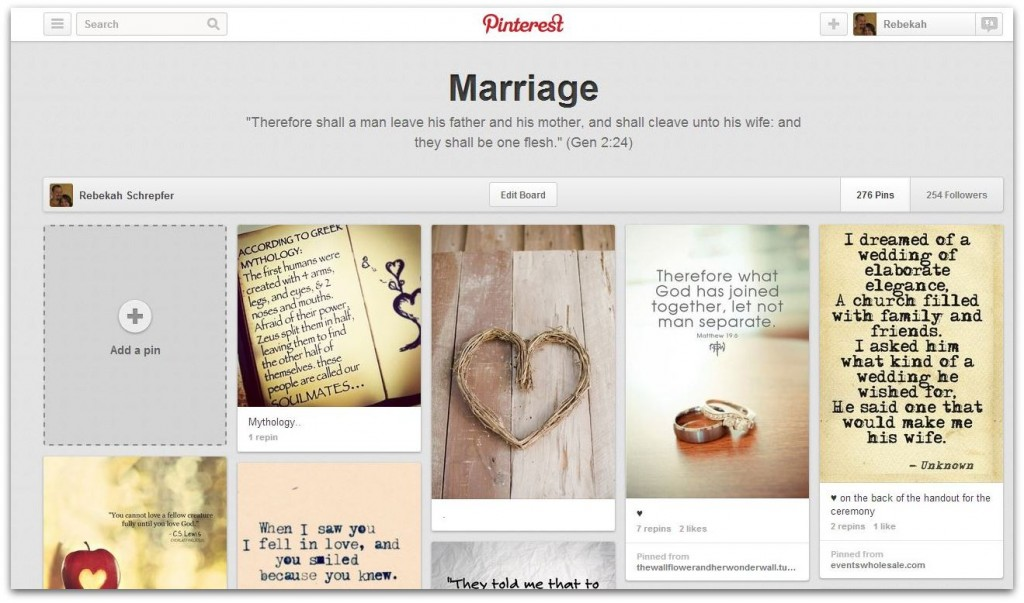Marriage pinboard