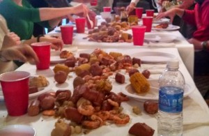 shrimp boil, help yourself and dig in
