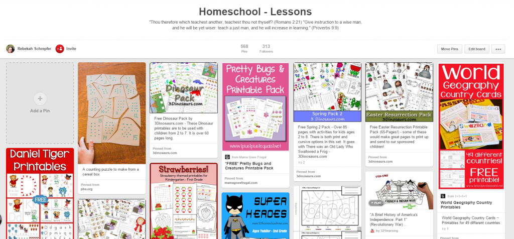 HomeschoolLessonsPinterestBoard